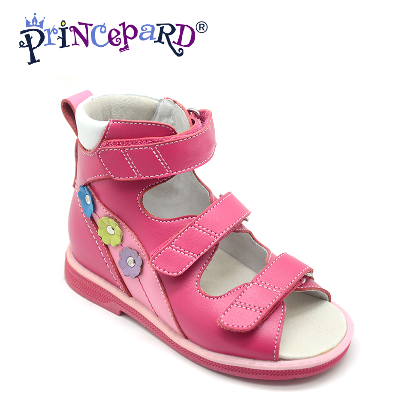 Princepard Need Customize in Advance 20 days genuine leather sandals baby Orthopedic shoes for girls