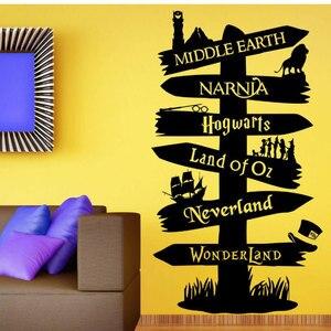 Наклейка на стену виниловая наклейка Storybook Signpost Fandom movie Властелин колец нарня Питер Пэн типография DY19