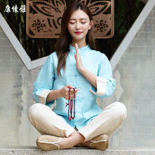 Women Yoga Set Tai Chi Kungfu Meditation Uniforms Linen Chinese Traditionl Loose Wide Yoga Pant Yoga Shirt Casual Outfit Set autumn men yoga set tai chi kungfu clothes cotton linen chinese traditional loose shirt pant meditation martial arts uniforms
