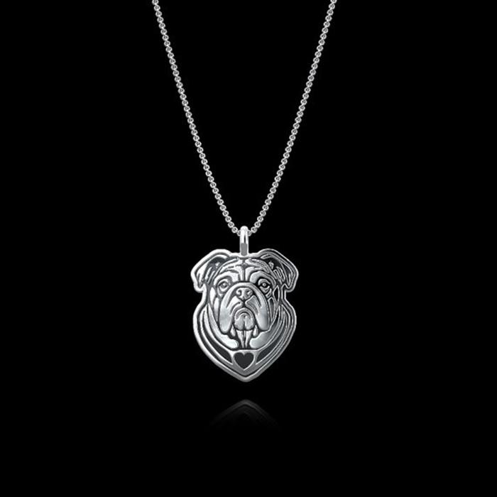 Daisies Pendant Necklace dog puppy English Bulldog necklace pendant Animal