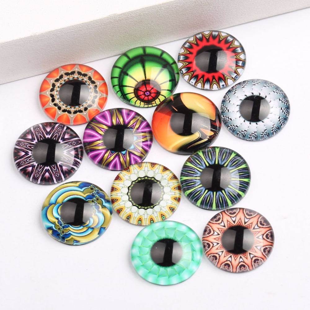 onwear mix kaleidoscope eye photo round dome glass cabochon 12mm 20mm diy jewelry components for earrings making