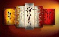 De gran tamaño 5 Panels lienzo pintura al óleo pintada a mano abstracta de la lona Wall Art Pictures para dormitorios