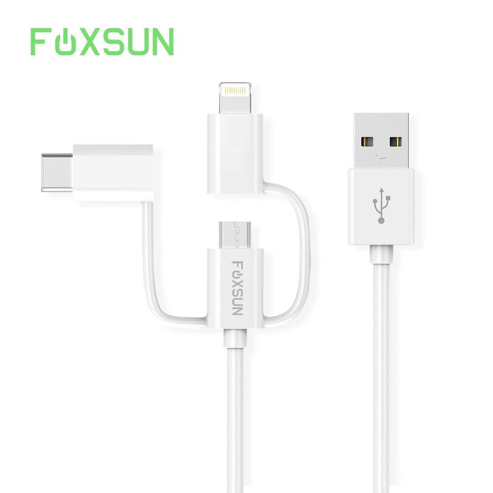Foxsun 3 в 1 USB кабель для iPhone зарядный кабель Micro Тип usb C кабель для samsung S8 ...