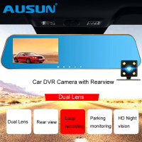 AUSUN Car DVR Camera Dashcam Video Registrator Recorder W/ Review Mirror G sensor Night Vision Auto Dual Lens 4.3 inch Dash Cam