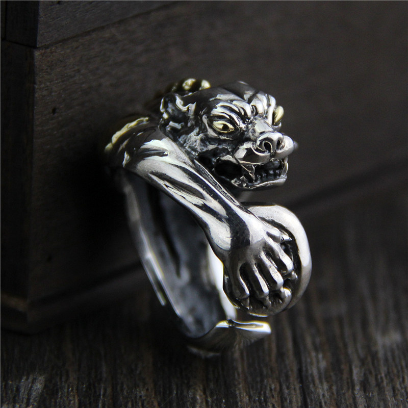 C&R 925 Sterling Silver Rings retro personality exaggerated leopard gold eyes mens ring handmade Fine Jewelry Size 9-12