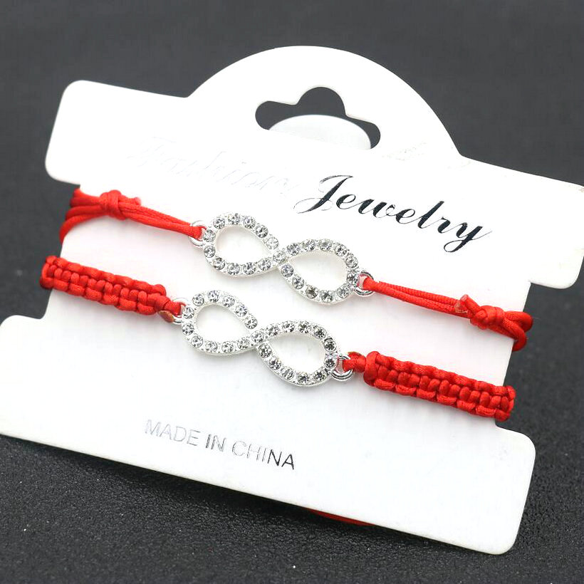 Bracelets & Bangles Genteel 2pcs/set Women Silver Color Crystal Zircon 8 Infinity Handmade Braid Red Rope Thread Bracelet For Couples Kids Girls Love Gift