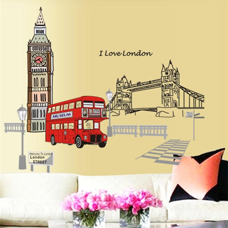 London Double-decker Bus Wall Stickers Removable Sticker Creative Art Mural Home Decor Decoration Large adesivo de parede
