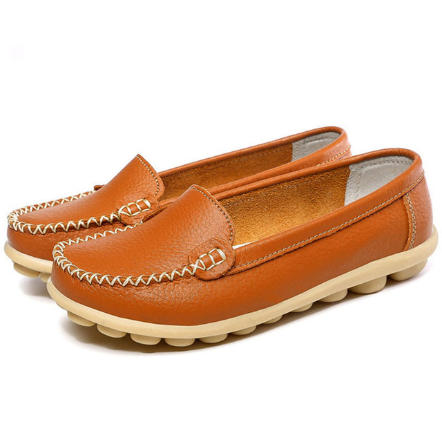 Women Flats Soft Leather Women Shoes Non-slip Loafers For Women Casual Flats Shoes Female Footwear Plus Size 35-41