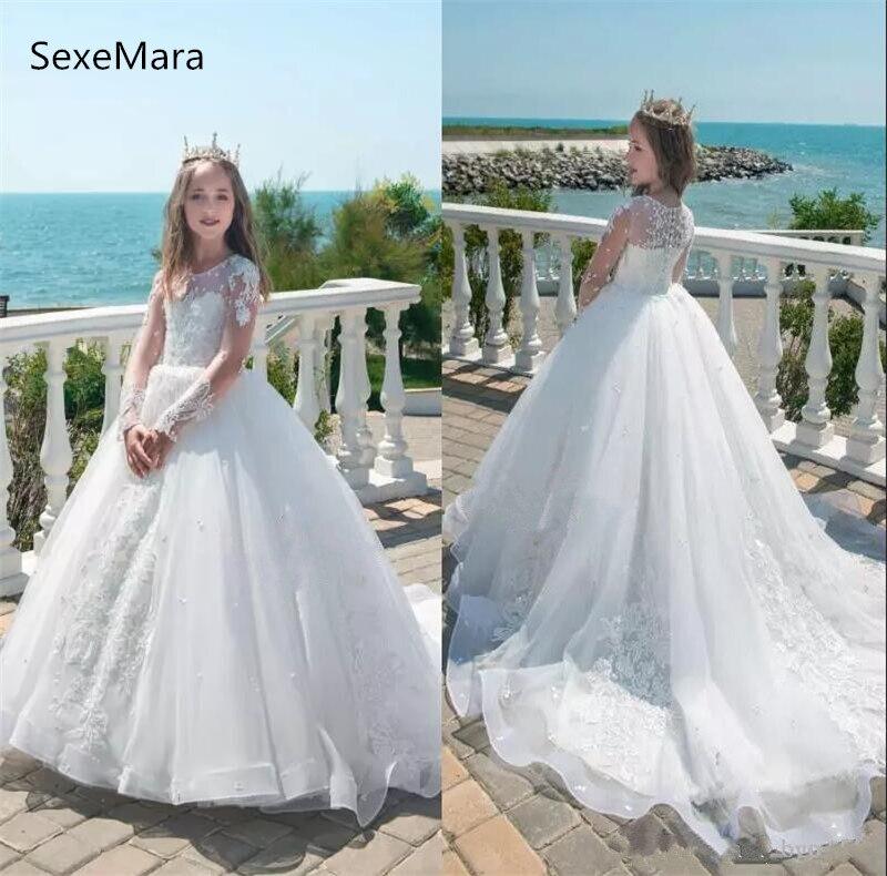 White Ivory Flower Girl Dresses Sheer Neck Long Sleeves Appliques Beaded Girls Formal Wear Birthday Party Gown Communion Dress