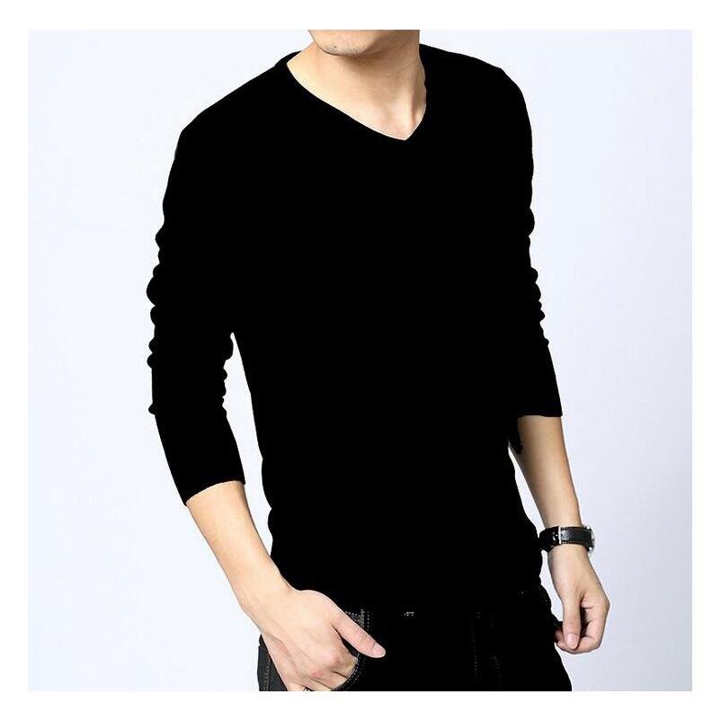 2018 Autumn Winter Mens Sweaters Black White Jumper Male V Neck