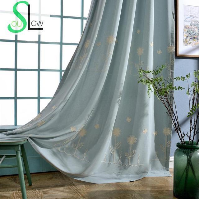 Langsam Seele Geheimen Garten Modernen Minimalistischen Bestickte Vorhänge  Vorhang Blau Beige Blumen Wohnzimmer Küche Schlafzimmer Chinesischen