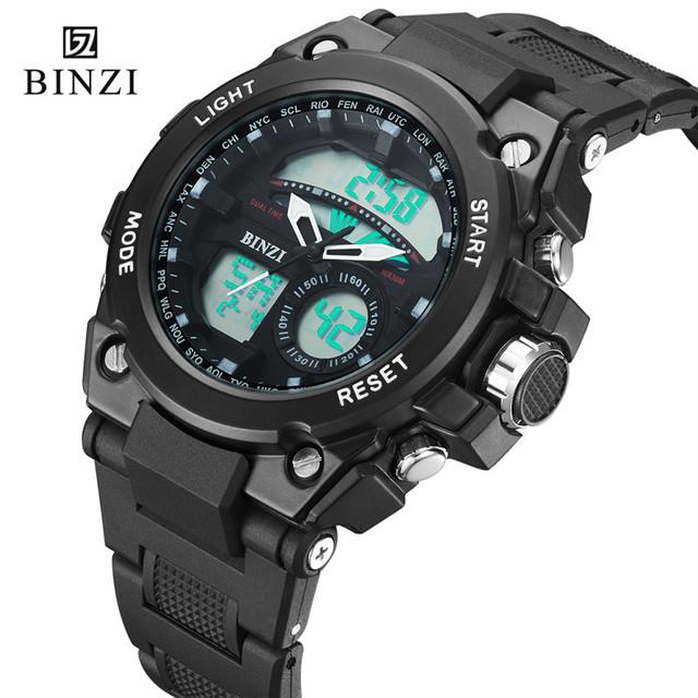 Binzi marca de luxo mens sport watch digital led militar relógio à prova d' água eletrônica dos homens moda casual relógio de pulso quente