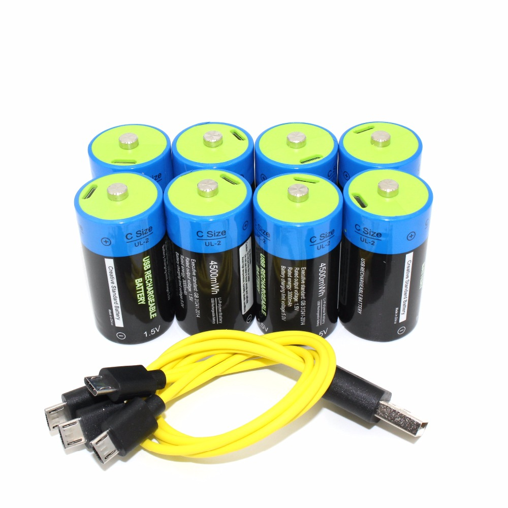 SUPER PACK 8pcs Etinesan 1.5v 4500mWh C Size Lithium Li-Polymer C type USB Rechargeable battery with USB charging cable set 3 6v 2400mah rechargeable battery pack for psp 3000 2000