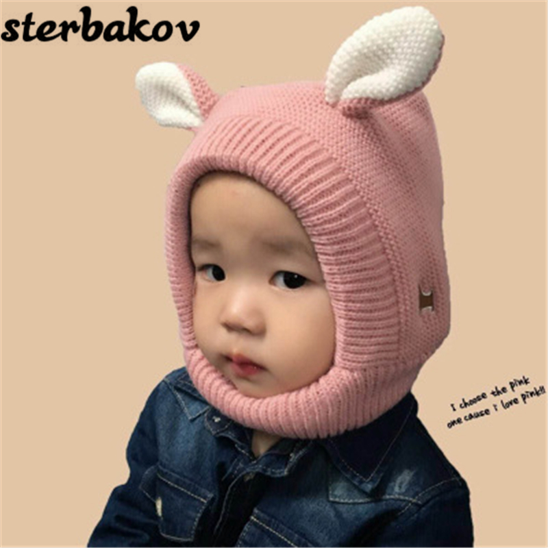 Winter Crochet Style Ear Cartoon Baby Hat Children's Knit Hats Boys Girls New Kids Winter Warmers Neck Warmer Caps donnalla cute hat beanie hooded neck shawls baby kids winter warmer knit woolen crochet bowknot cape scarf hats