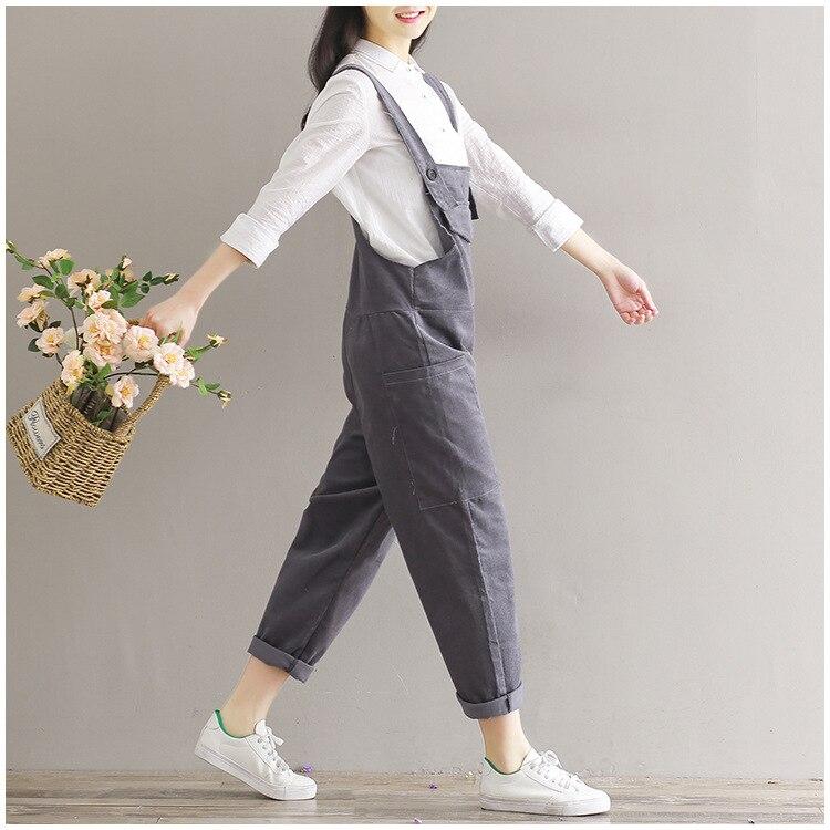 Brun 2017 marron Coréenne Globale Femme Pour Pantalon Combinaison Femmes Salopette 2018 Mode Corduroy Féminine Noir Ample Gris Noir zqOcdT7wx