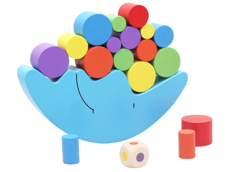 New Wooden Baby Toy Montessori Moon color balance font b blocks b font children s educational