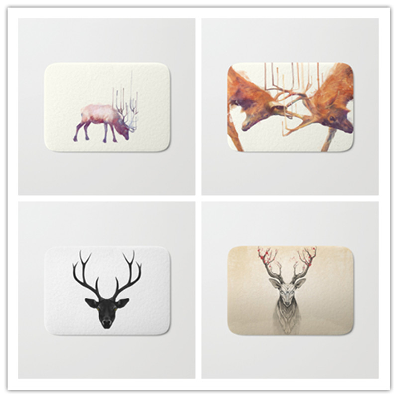 40*60cm decoration stair mats cool fighting deer pattern carpets waclome home door rugs for entrance door home decor craft