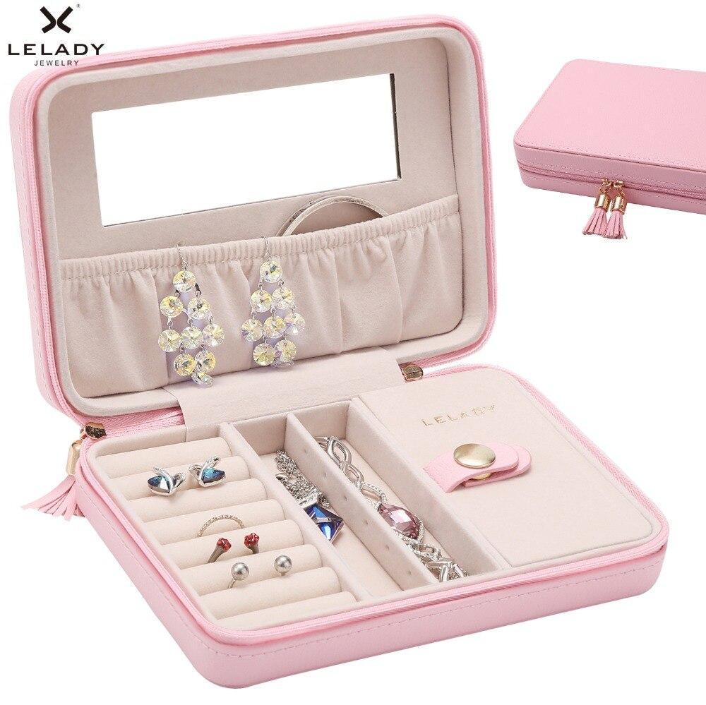 LELADY 18*5*13 cm portátil de viaje pequeña caja de joyería caja organizadora de almacenamiento con espejo dentro de caja de joyería de cuero de terciopelo para mujer