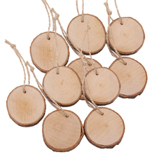 30pcs/lot Round Shape Natural Wooden Clip With Rope Hole Display Price Board Decorative Message Wood Wholesale