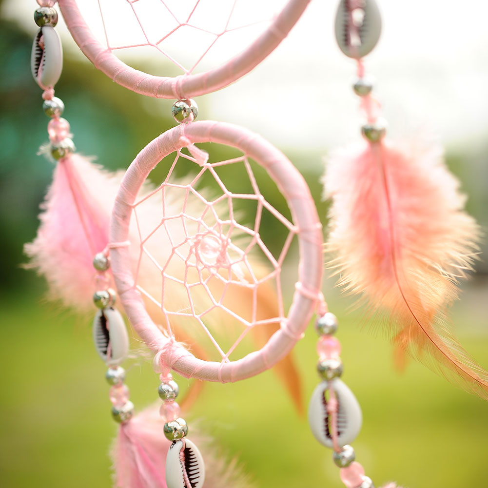 India Style Car Handmade Pink Dream Catcher Net With feathers ...