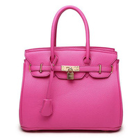 New Original Fashion Orange Top High Quality Luxury Lock Designer Handbags Famous Brand Real Women Bag