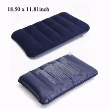 Foldable Pillow Outdoor Travel Sleep Air Inflatable Portable Break Rest Blue