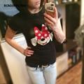 Moda T shirt Mulheres Verão Listrado rato T-shirts Curtas manga Tee Âncora Impresso Tops de Algodão Dos Desenhos Animados Da Coruja Camisetas da senhora topos