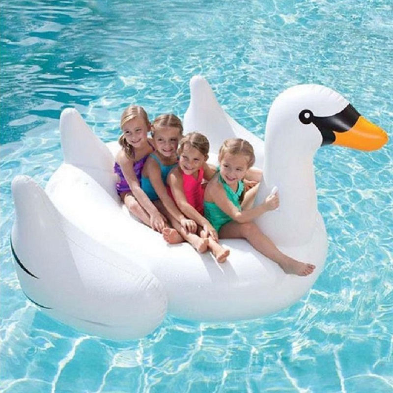 Lovely Noble White Swan Inflatable Mounts Floating Row Pool Party Water Park