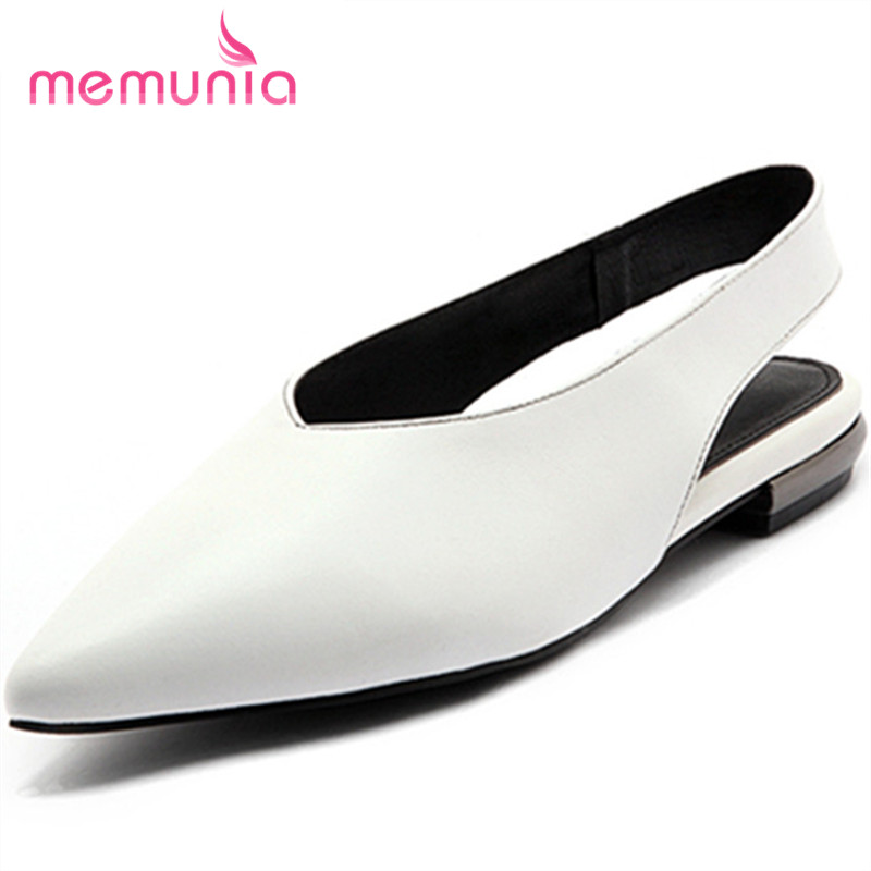 MEMUNIA 2017 new arrive women flats shoes fashion solid slingback pointed toe single shoes genuine leather spring autumn shoes memunia 2017 fashion flock spring autumn single shoes women flats shoes solid pointed toe college style big size 34 47