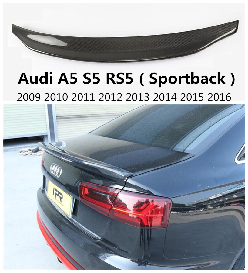 High Quality Carbon Fiber Spoiler For <font><b>Audi</b></font> <font><b>A5</b></font> S5 RS5 <font><b>Sportback</b></font> 2009-2016 Rear Wing Spoilers Car Accessories image