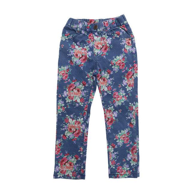 Nueva Caída Muchachas de los Babys Pantalones de Flores de Impresión de la Moda Moderna Encaja Pantalones