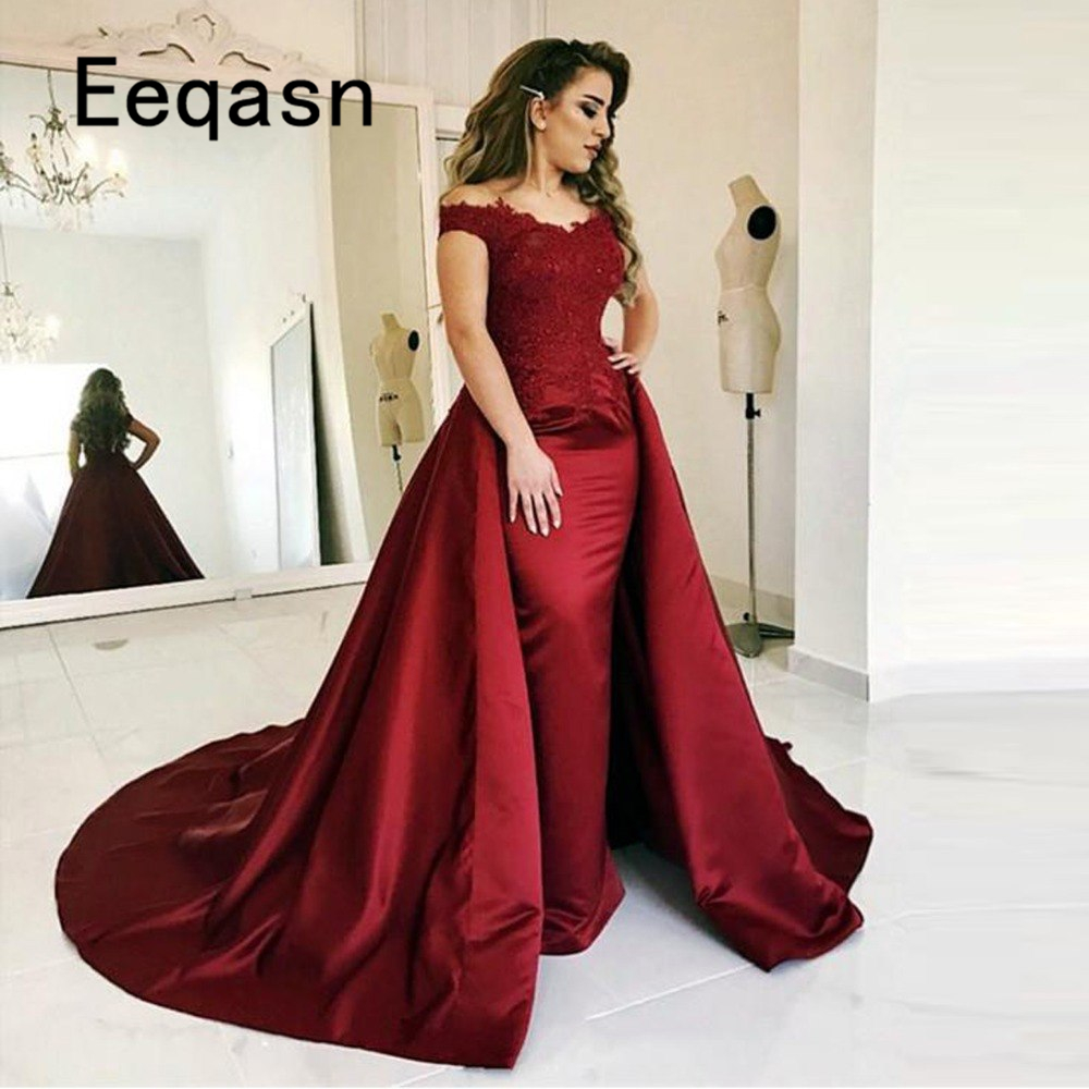Robe De Soiree Muslim Prom Dress Islamic Dubai Kaftan Saudi Arabic Burgundy Long Evening Gown with Detachable Train 2019