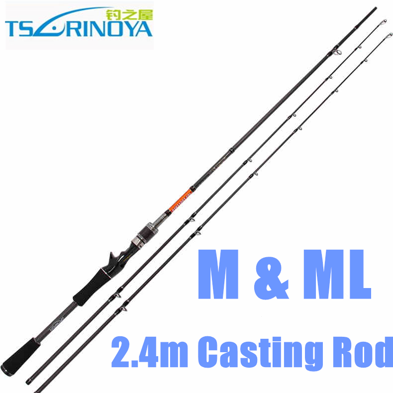 Trulinoya 2.4m M & ML 2 Tips Baitcasting Rod 2 Section 2.4m Carbon Fishing Rod Carbon Casting Rod trulinoya casting fishing rod 99% carbon fiber 1 98m carp fishing sea rod 2 section ml power f taper rod with case elc662ml