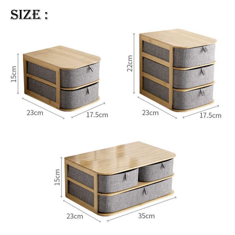Деревянная Коробка органайзер для косметики Бамбуковая ткань офисная настольная шкатулка для хранения косметики контейнер для хранения дома Sundry Органайзер