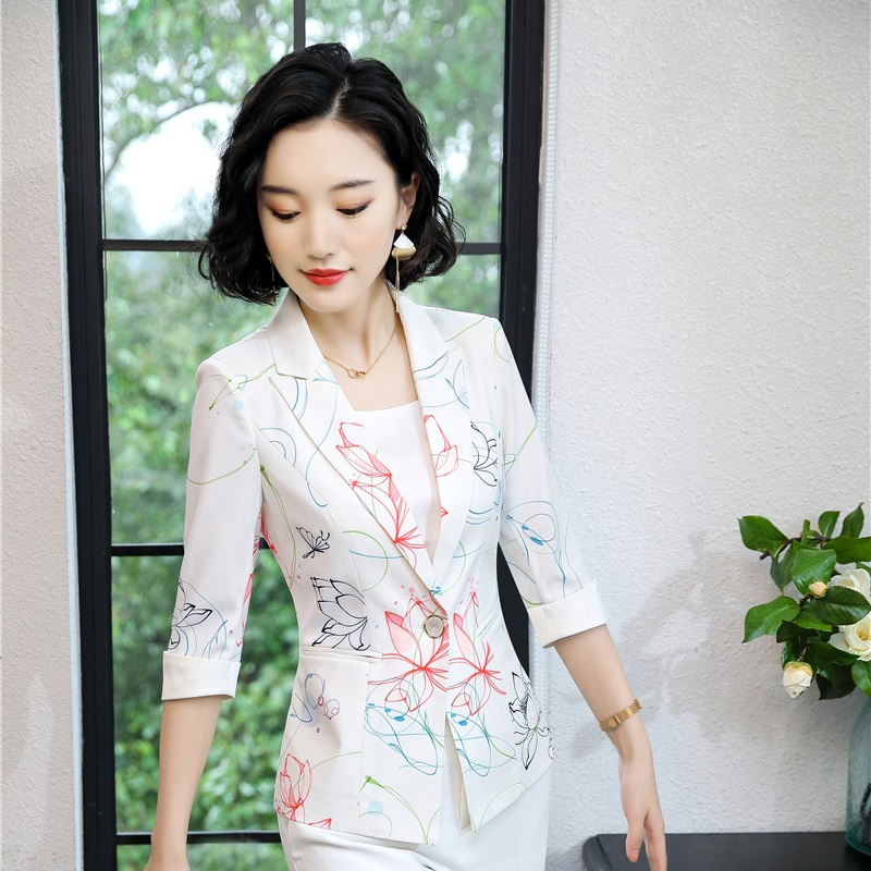 Half Sleeve Fashion Printed Blazers And Jackets Coat For Business Women 2019 Summer Work Wear Female Business Tops Outwear