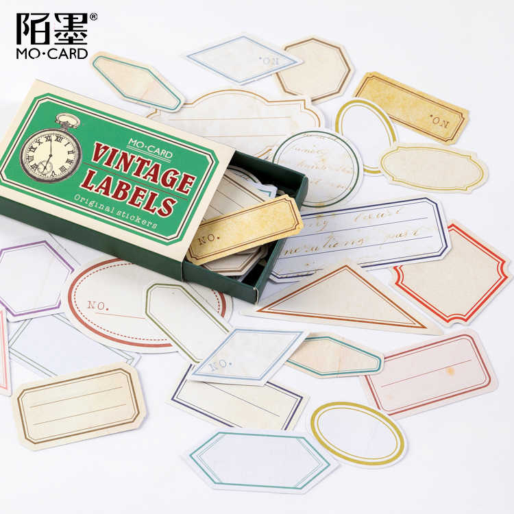 60 PCS/Kotak Kotak Korek Api Retro Stiker Tua: Dekoratif Stiker Scrapbooking Tongkat Label Diary Album Bullet Journal Stiker