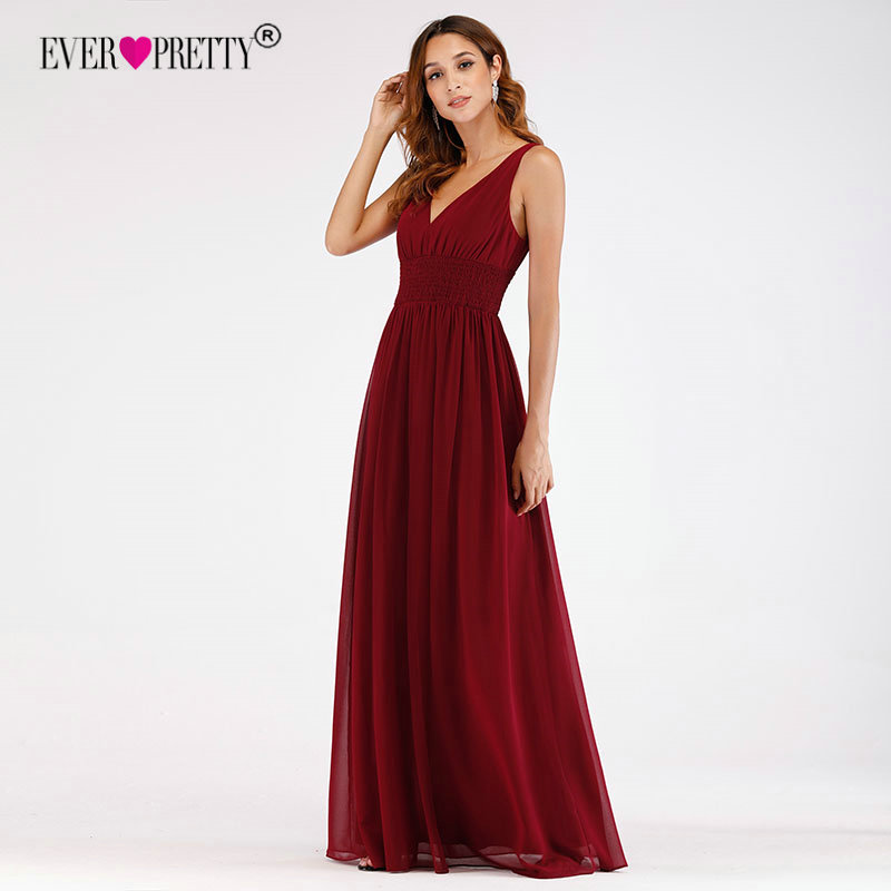 Burgundy   Bridesmaid     Dresses   Ever Pretty EP07539 New Elegant A Line V Neck Backless Wedding Party Gowns Vestido De Madrinha Longo