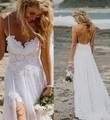 Nova chegada quente praia Sexy Hi Lo Lace frente curta tempo de volta Chiffon simples elegante vestido de casamento vestido Custom Made