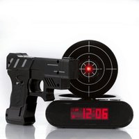 Gadget Target Laser Shooting Gun Alarm Clock watch nixie clock Snooze bedside for kids Digital electronic desk clock table