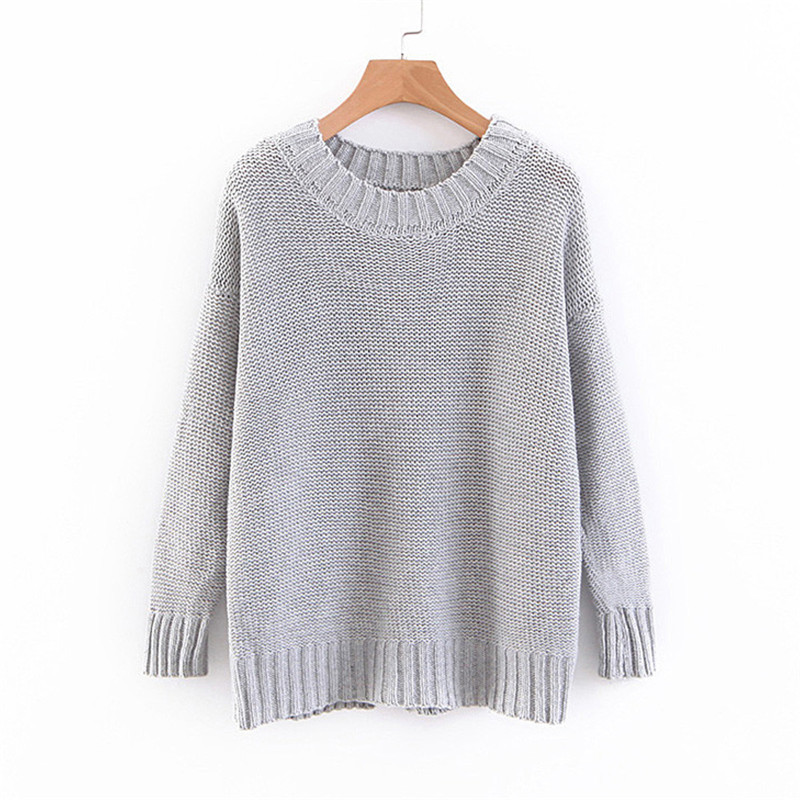 Women's Long sleeve Warm Knitting Sweater Back Hollowed Out Cross Strap Bow Pullover Sweater Loose O-Neck Tops Knitwear 40