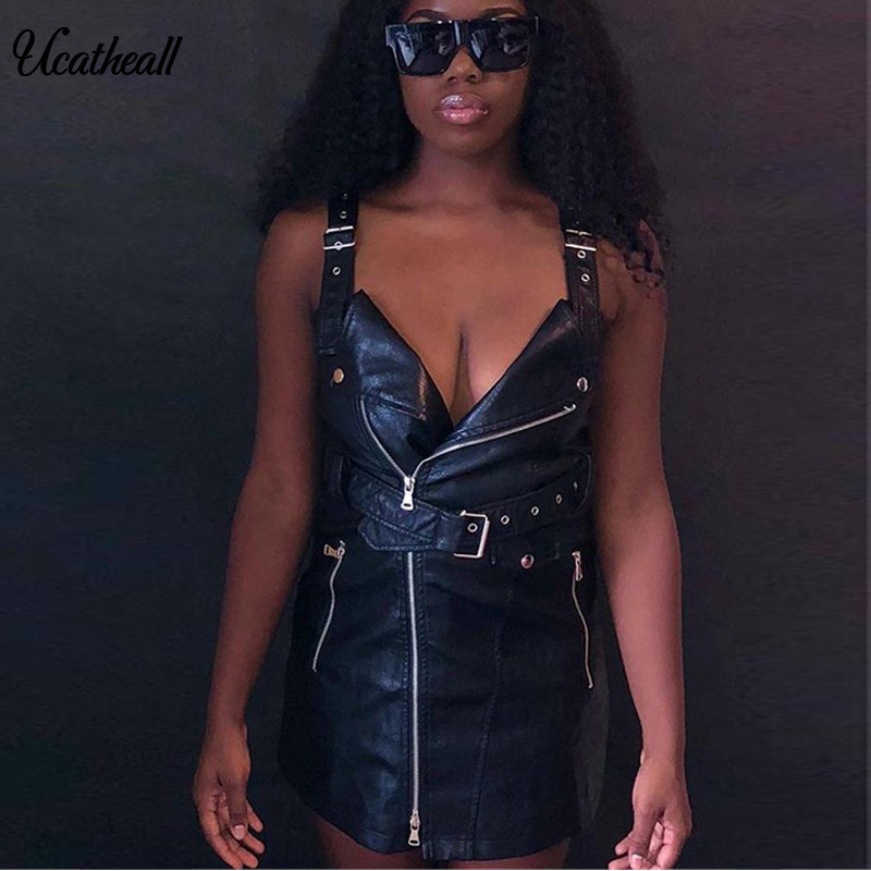 Women's Clothing Adroit Ucatheall 2018 New Motorcycle Washed Pu Leather Strap Summer Dress Female Sexy Party Sexy Turn-down Collar Slim Retro Dress