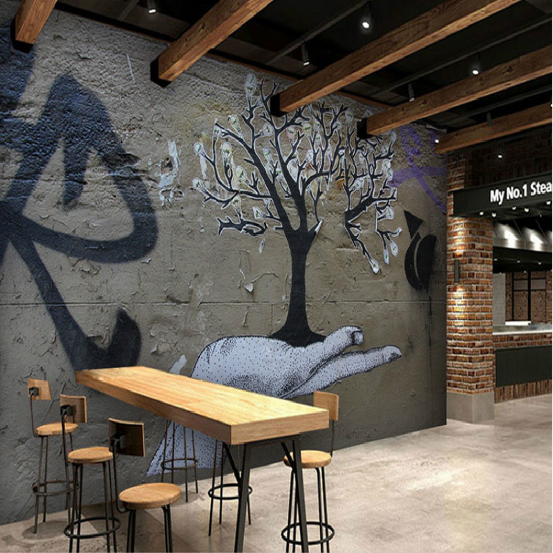 Custom vintage retro wallpaper mural graffiti letters for Dining room mural wallpaper