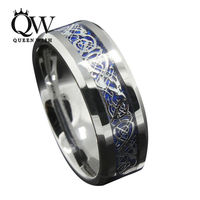 Queenwish 8 мм серебрение кельтский Дракон Вольфрам обручальное кольцо из карбида себе мужские Кольца Jewellery кольцо