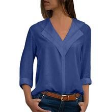 Fashion Chiffon Solid Shirt Office Ladies Plain Roll Sleeve Lady Blouse Tops Women Blouses Long Girl Shirts