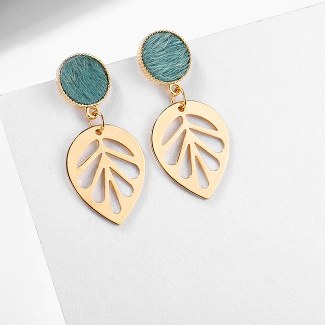 17KM Green Leaf Drop Earrings For Women Girl Gold Color Dangle Earring 2019 Female Statement Geometric Earing Fashion Jewelry