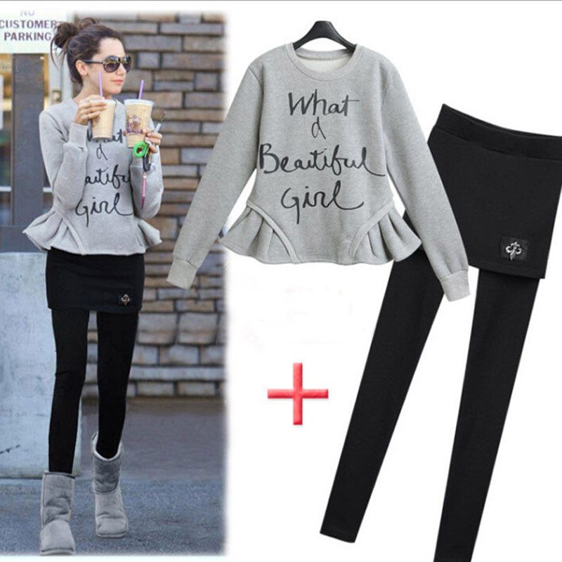 Casual Sets Autumn Letter Sweater Pencil Pants Full Sleeve Ruffles Casual Set 50