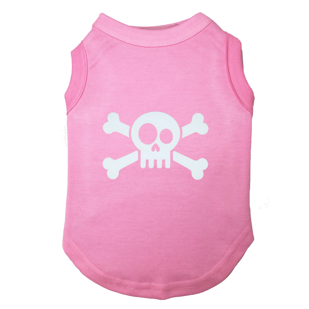 Cheap clothing SKULL Printed T-Shirts Pet Puppy Clothes Shirts Tee Polyester Clothes Tank Tees Top for All Seasons Hot sale