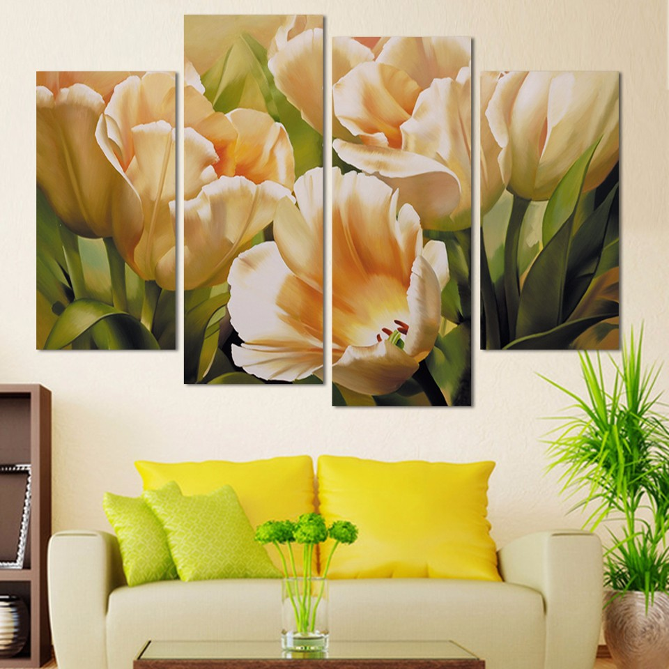 Fashion 4 Panel Wall Art oil painting tulip flower Paintings print ...