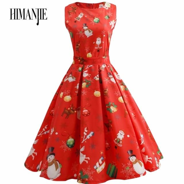 cheap women black newly girls santa christmas dress red christmas pattern print slim waist big flared - Red Christmas Dresses