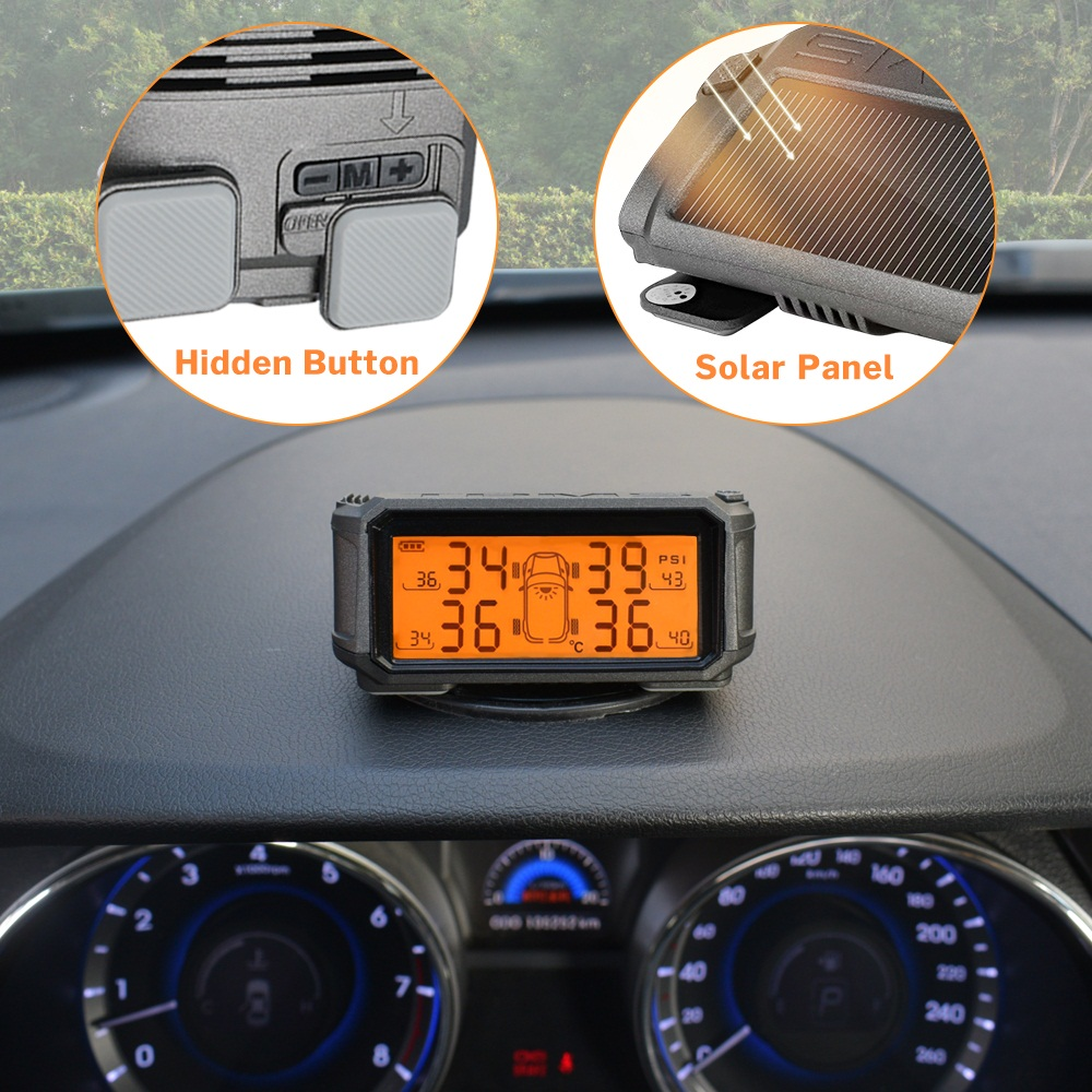 Image 2 - Tire Pressure Monitoring System TPMS Sensor Solar Car Security Smart Tyre Control Wireless 4 Wheels External Internal Sensors-in Tire Pressure Alarm from Automobiles & Motorcycles